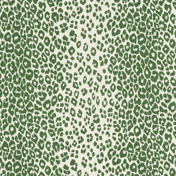 Iconic Leopard | 176452 in Green | Schumacher Fabric