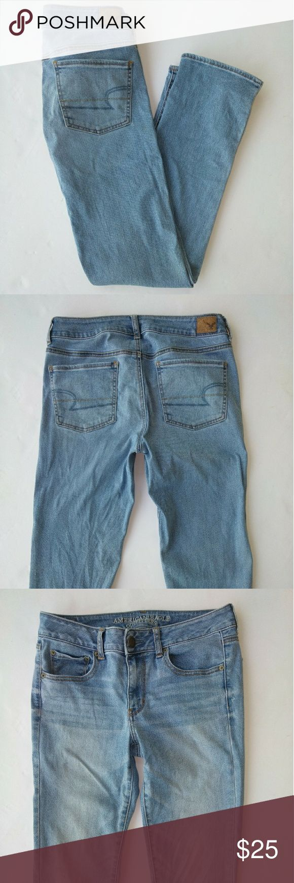American Eagle Straight Super Stretch Jean size 10 AE straight super stretch jeans are a factory faded light wash. Denim feels nice and soft!  Size 10. Waist laying flat is 16''. Inseam is 31.5''. Front rise is 8.75''.  Accepting reasonable offers.  I ship same day (taking Post Office hours into consideration).  Item # 477 (for my reference). American Eagle Outfitters Jeans Straight Leg