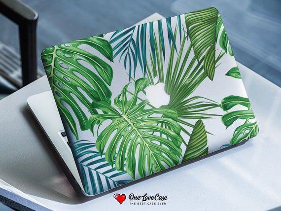 Tropical monstera palm leaves print clear plastic protective case new macbook air macbook air 13 cas