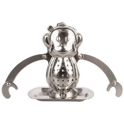 Das Tea Monkey Tee-Ei sorgt für Teegenuss mit witziger Optik. Das praktische und neckische Geschenk für Teetrinker. Teefilter mit Untersetzer.
