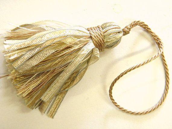 6 small tassels sand grey beige light gold key tassel by Eleptolis