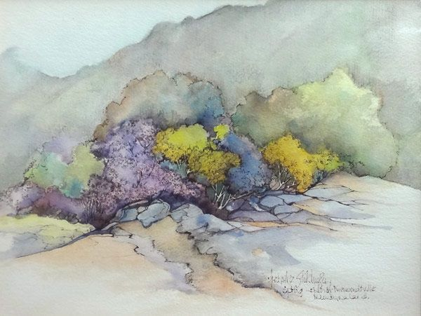 Watercolour Painting South African Art  Artist: FREDERIKE STOKHUYZEN Watercolor South African Art  Title: Spring: South of Nieuwoudt, Namaqualand Size: 30 x 40 cm Media: Watercolour