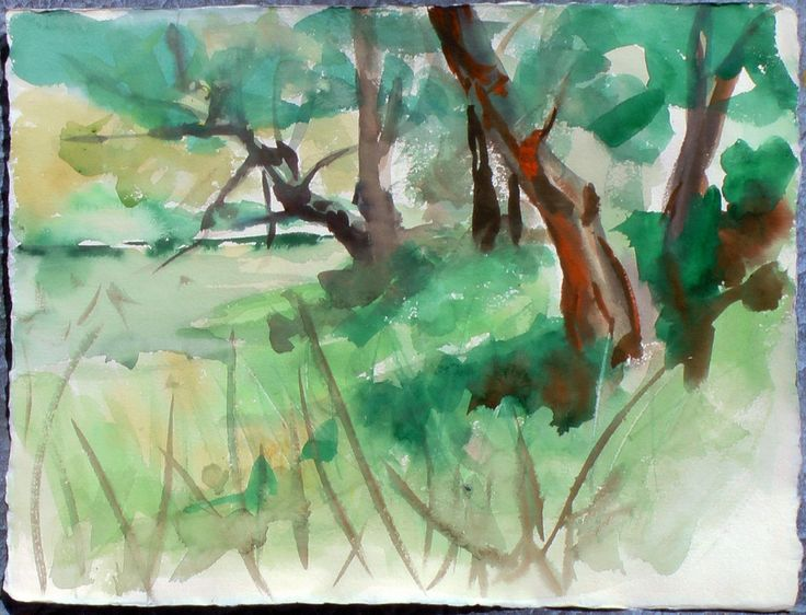 Trees at a River, watercolor on paper