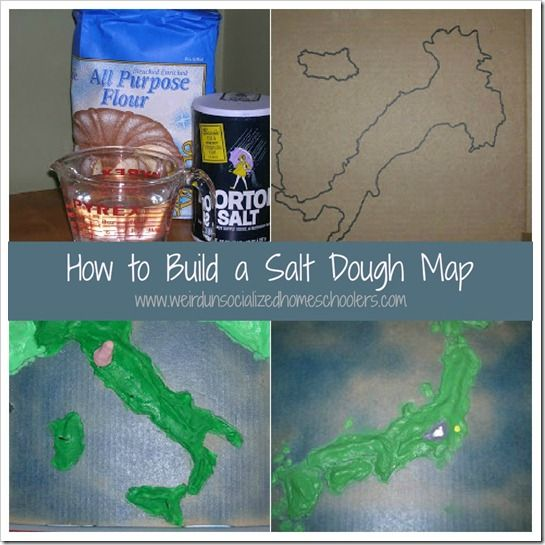 [dropcap]E[/dropcap]asy and fun to make, salt dough maps are a great visual aid for learning the geography of a country and a fun, hands-on tool for making history come alive.      We like to make our maps on pizza boxes. They're sturdy, easily