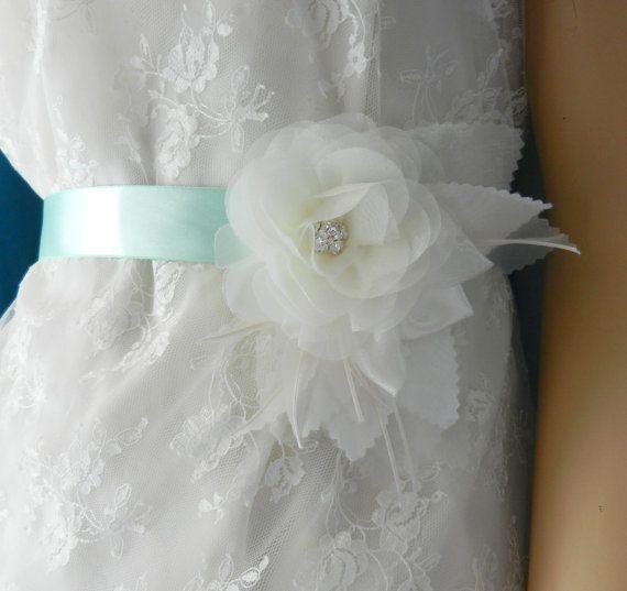 Bridal Sash, Wedding Dress Sashes Belts, Sashes, Sash, Wedding Sash, Belt, Rhinestone Flower Sash, bridesmaid belt, Turquoise Blue Sash on Etsy, $25.00