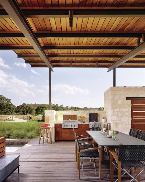 The Innovative And Beautiful Lake Flato Pool House In Texas : Open Air  Kitchen And Dining Space Of The Story Pool House