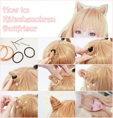 Kawaii Katzenohren Dutt Frisuren für Halloween und Weihnachten Party mit Haarve…