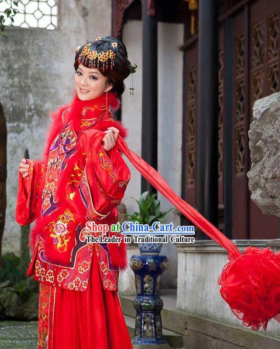 Trending Chinese Stunning Mandarin Lucky Red Wedding Dress for Bride