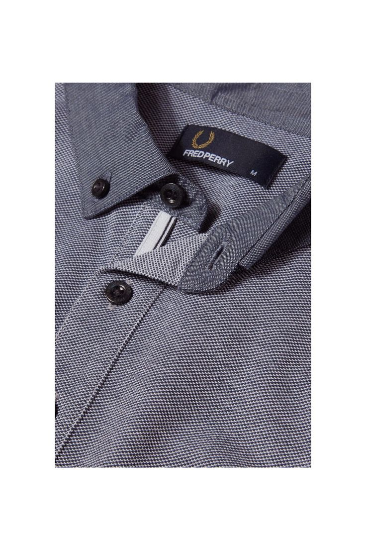 Fred Perry - Woven Collar Pique Shirt Dark Carbon Oxford