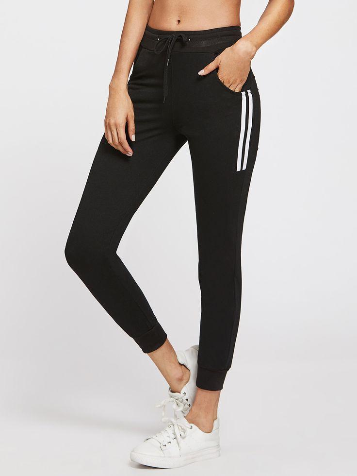 Pantalons avec rayure côté avec cordon de taille