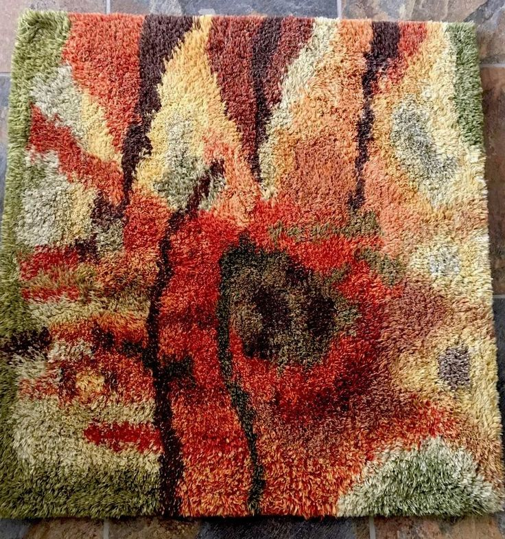 "Mid-Century Modern Danish Abstract RYA RUG SHAG WALL TAPESTRY 36""x36"""