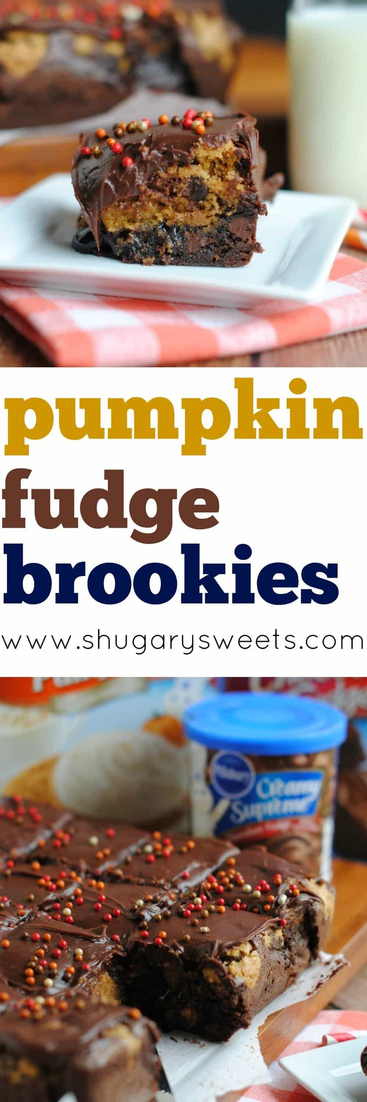 Rich, fudgy bars that are perfect for Fall. These Pumpkin Fudge Brookies are so easy to make using some of your favorite Pillsbury products!