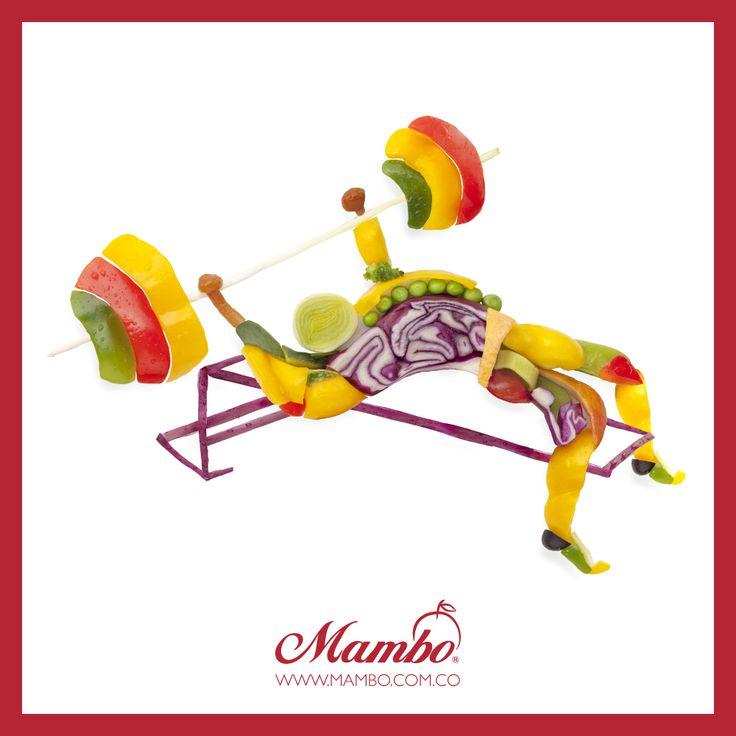 Fortalece tus músculos con frutas y verduras. www.mambo.com.co