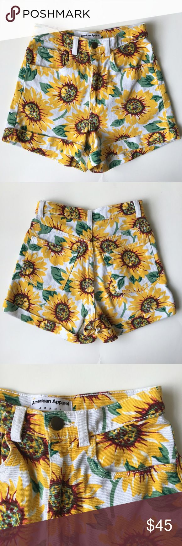 American Apparel Sunflower High-Waisted Shorts These are THE sunflower shorts from American Apparel. Sooo cute, but they just don't fit me anymore! Size 24/25, they do have some stretch. These are the perfect shorts for summer! White denim with an adorable sunflower pattern. So flattering. Perfect condition. American Apparel Shorts Jean Shorts