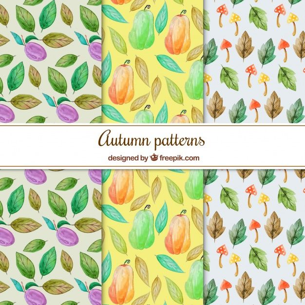 Free vector Classic set of watercolor autumnal pattern #22537