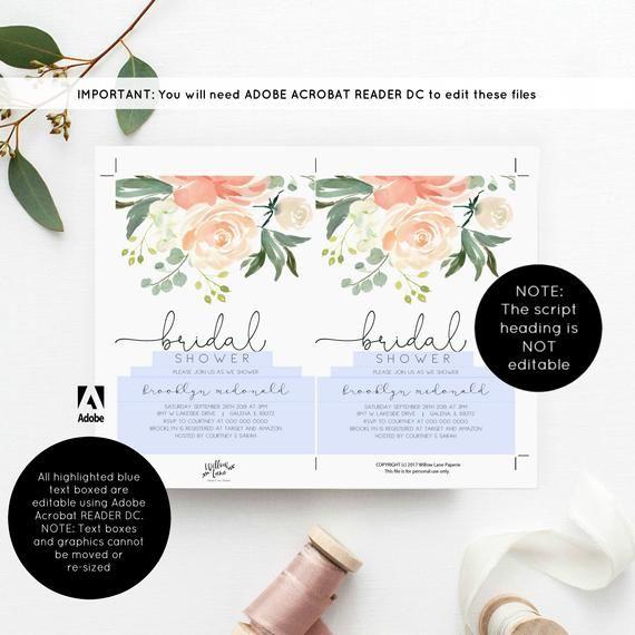 Bridal Shower Invitation Template Peach Fl