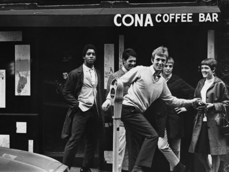 Outside the Cona Coffee Bar - Manchester. Shirley Baker