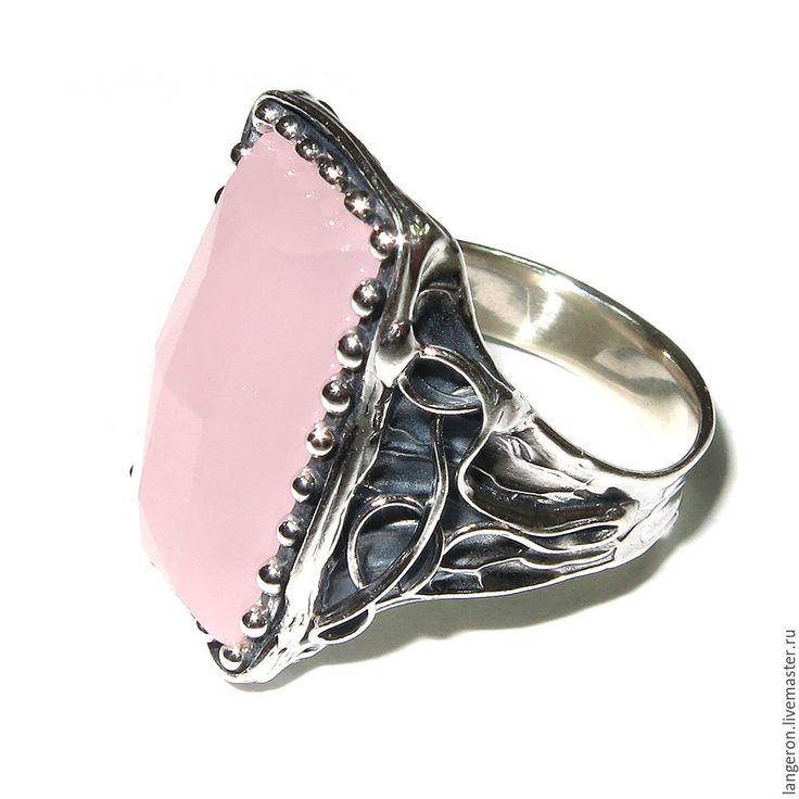 "Купить Серебряное кольцо ""Бавли"". Серебро 925 пробы. Розовый кварц. - кольцо"