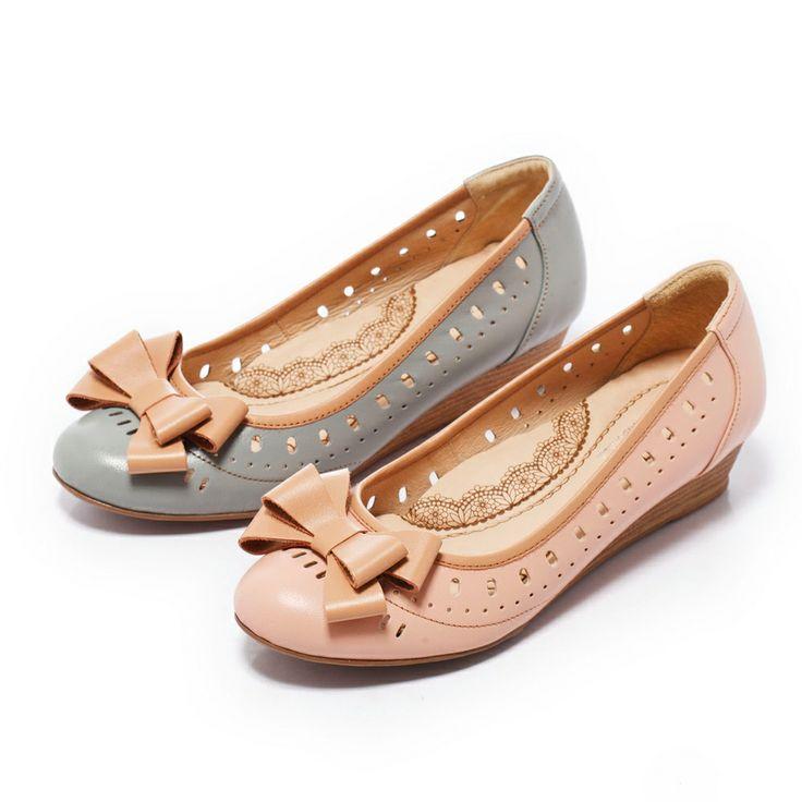 1-2380 Fair Lady 芯太軟 典雅蝴蝶結楔型鞋 粉 - Yahoo!奇摩購物中心