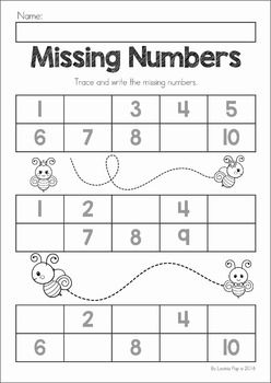 Spring Preschool No Prep Worksheets & Activities. A page from the unit: write the missing numbers
