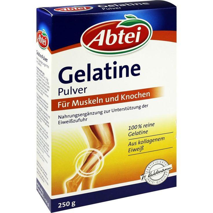 ABTEI Gelatine Pulver:   Packungsinhalt: 250 g Pulver PZN: 04430134 Hersteller: Omega Pharma Deutschland GmbH Preis: 5,90 EUR inkl. 19 %…