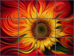 Abstract Sunflower Tile Mural | Pacifica Tile Art Studio      I would LOVE to have this as my back splash focal point in my kitchen. YUMMY!!