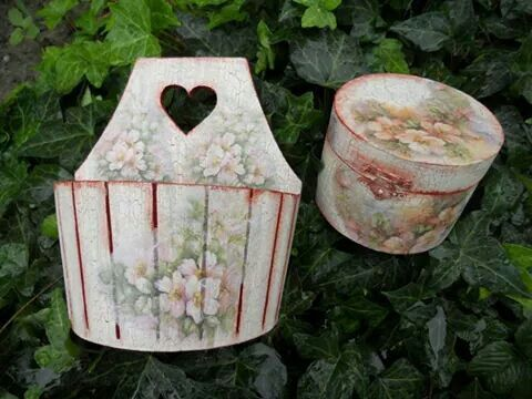 Vintage flowers.Hand painted and decoupage techn.22eur