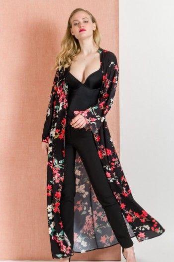 BLACK LONG FLORAL KIMONO DRESS