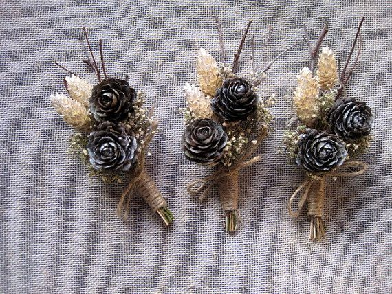 Woodland winter pine cone boutonniere white by FlowerDecoupage