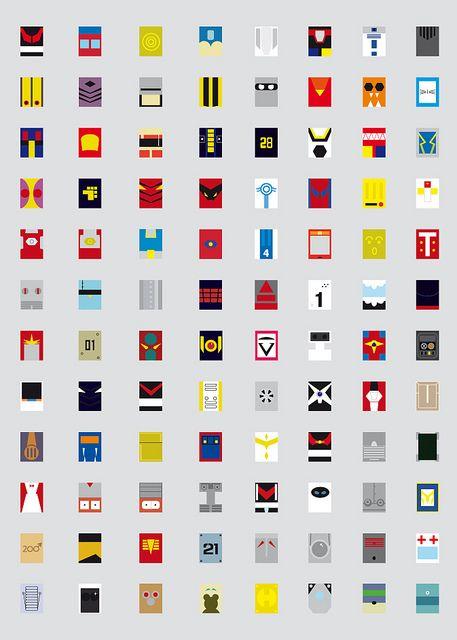 Minimalism robots (good natured / defenders)                                                                                                                                          Keys:  Mazinger, Optimus prime G1, C3P0, Mega man, Leader 1, Voltron, R2D2, Iron giant, Steel jeeg,  EVA01, Robocop, Bumblebee, Bender, Boss, Gaiking, Doraemon, Magne Robo Gakeen, Turbo, Astroboy, Bryger, Tetsujin 28, Valkyrie VF-1S, Megazord, Overman king gainer, Aphrodite,  Daikyojin, EVA 02, Lagann, Big guy…