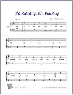 It's Raining, It's Pouring | Free Sheet Music for Easy Piano - http://makingmusicfun.net/htm/f_printit_free_printable_sheet_music/its_raining_piano.htm