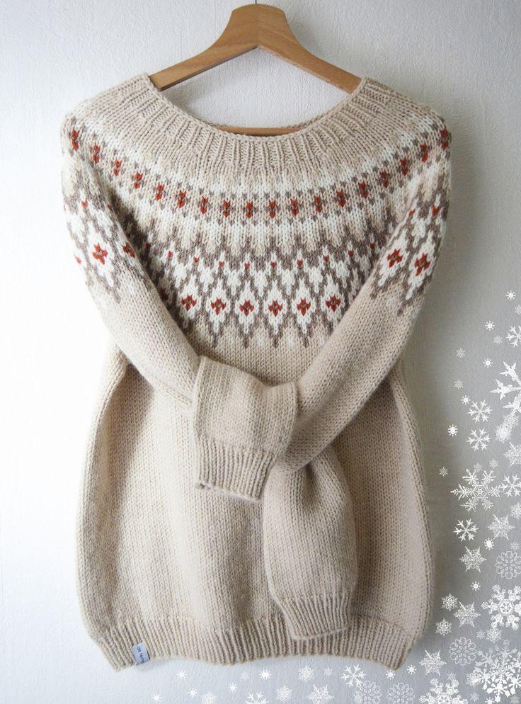 Pull tricoté main laine alpaga jacquard style islandais lopapeysa : Pulls, gilets par de-temps-en-temps