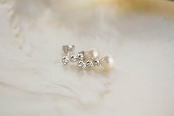 Cultured Pearl, CZ and Sterling Silver Stud Earrings