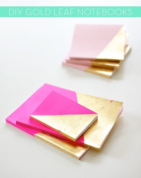 Gold Leaf Notebooks | 39 DIY Gifts Youd Actually Want ToReceive Pretty fancy for a note book, but different for a teenager girl to have.