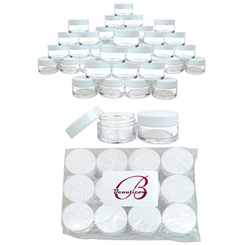Beauticom 48 Pieces 20G20ML Round Clear Jars with WHITE Lids for Lotion Creams Toners Lip Balms Makeup Samples  BPA Free ** Read more  at the image link. Note:It is Affiliate Link to Amazon.