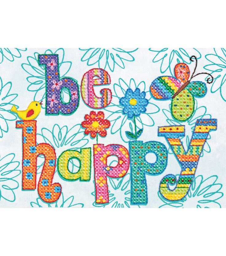 Dimensions Mini Stamped Cross Stitch Kit Be Happy