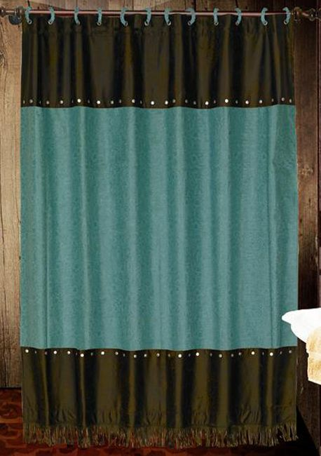 Western Shower Curtains: Cheyenne Turquoise Shower Curtain Lone Star Western Decor