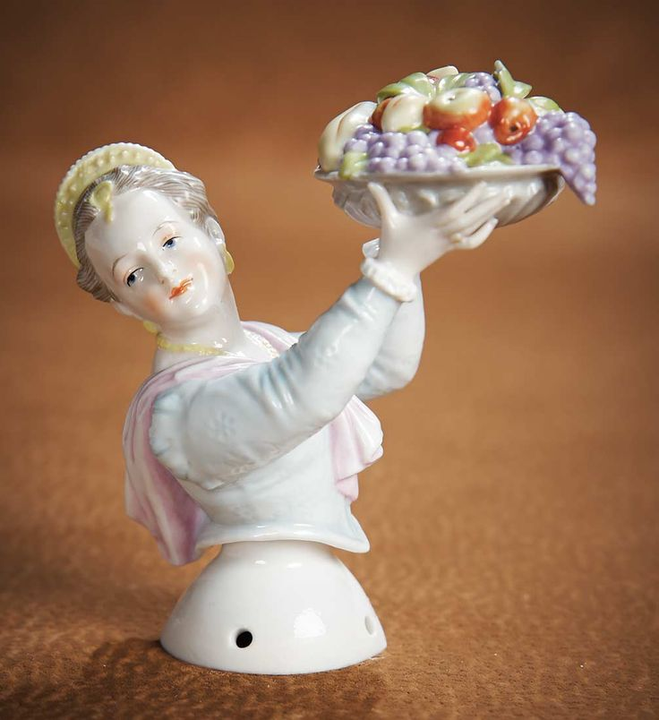 """The Vanity Fair - Strong Museum Half Dolls: 138 German Porcelain Half Doll """"Girl with Basket of Fruit"""" Attributed to Kister"""