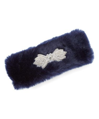 Look what I found on #zulily! Navy Embellished Faux Fur Headband #zulilyfinds