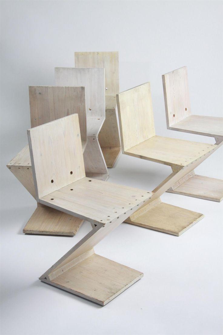 Set of chairs, Zig Zag. Designed by Gerrit Rietveld for G. A. van de Groenekan, Holland. 1934.
