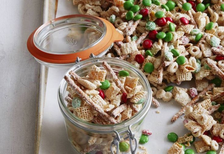 Ingredients: 3 cups Cheerios 3 cups Rice Chex 3 cups Wheat Chex 1 cups Pretzel Sticks 2-3 cups m&m's 24 oz White Chocolate (plus an extra 4-8 oz if needed) Directions: In a large bowl combine the Cheerios, Chex, Pretzels and m&m's. Mix them up a bit, making sure that everything is evenly distrib…