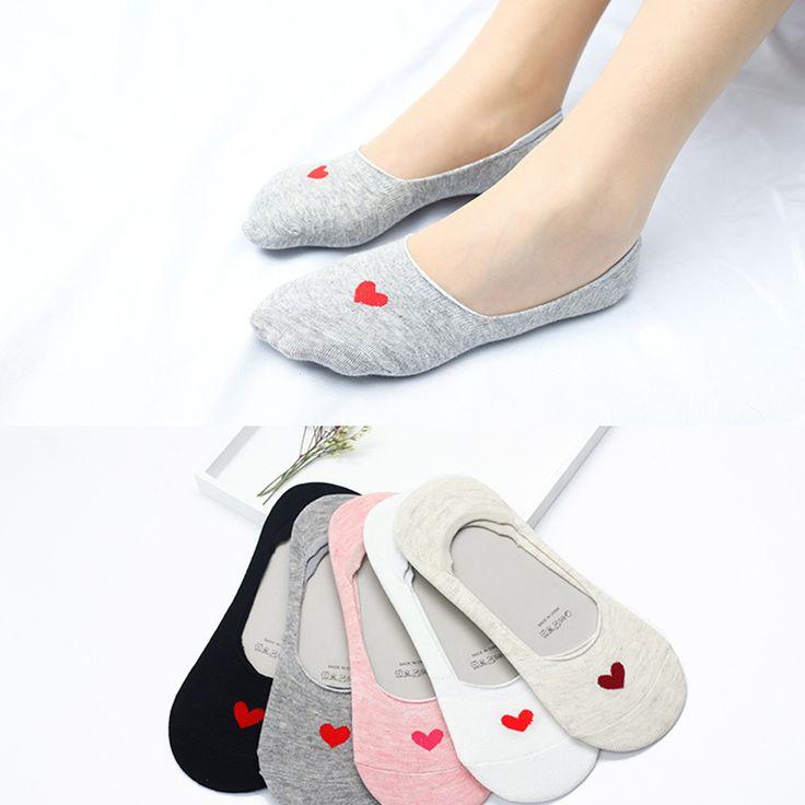 Women Summer Lovely Socks Silicone Non Slip Cotton Comfortable Heart Pattern Ankle Short Boat Socks #Affiliate