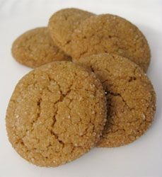 Soft molasses cookies from The King Arthur Flour Cookie Companion, via http://www.seriouseats.com/recipes/2009/12/soft-molasses-cookies-recipe.html.