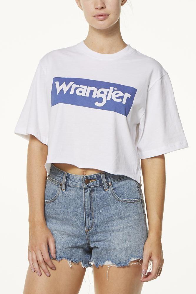 wrangler - Boyfriend Crop Tee - White/Navy
