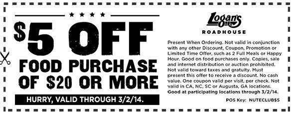 Logan's roadhouse coupons discounts