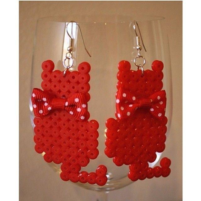 Cat earrings perler beads by scarletsparkle