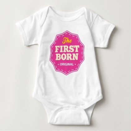 Customizable First Born T-shirt Pink - baby gifts child new born gift idea diy cyo special unique design