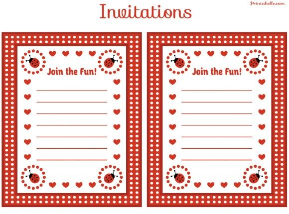 And of course an invitation template! Free Ladybug Party Printables Printable Birthday Invitations Ladybug Invitations Free Printable Party Invitations