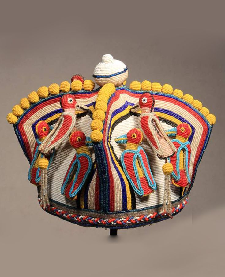 Africa | Beaded coronet ~ 'Orikogbofo' ~ from the Yoruba people of Nigeria | ca. early 20th century