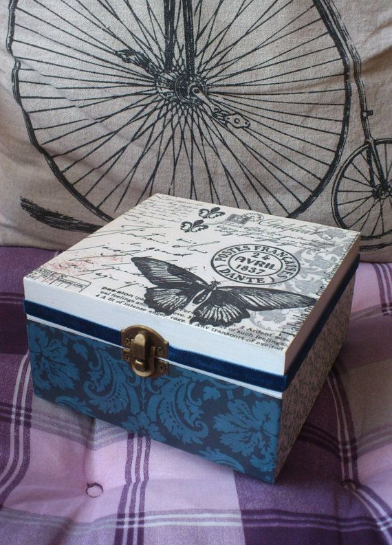 vintage butterfly decoupaged wood tea or jewellery by madebytimea